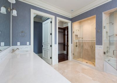 View of shower doors in a home's guest bathroom